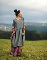 Šaty - Khaki šaty lněné - 12340374_