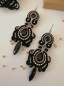 Náušnice - Luxusné čierno-zlaté šujtáš náušnice - 12339727_