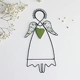 Dekorácie - anjel v zelenom (bez mena) - 12343162_