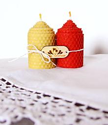 Svietidlá a sviečky - Dvojica sviečok z včelieho vosku - 12342947_
