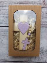 Dekorácie - Set krížik a ruženec - svetlo fialová - 12343304_