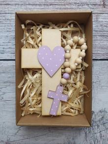 Dekorácie - Set krížik a ruženec - svetlo fialová - 12343303_
