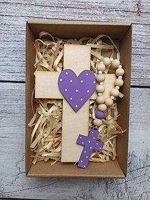 Dekorácie - Set krížik a ruženec - tmavo fialová - 12343306_