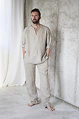 Oblečenie - Pánske ľanové nohavice na doma (L) - 12342683_