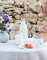 Úžitkový textil - Okrúhle ľanové obrusy - 12343415_