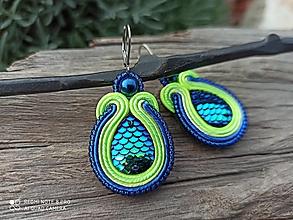 Náušnice - Soutache Blue and Green Lagoon .. morská panna - 12344738_