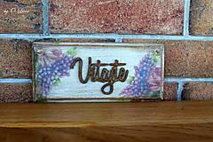 Tabuľky - Vitajte - tabuľka s kvetmi, z jaseňa - 12344384_