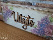 Tabuľky - Vitajte - tabuľka s kvetmi, z jaseňa - 12344385_