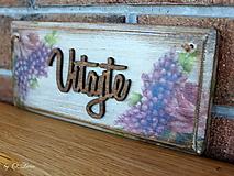 Tabuľky - Vitajte - tabuľka s kvetmi, z jaseňa - 12344386_