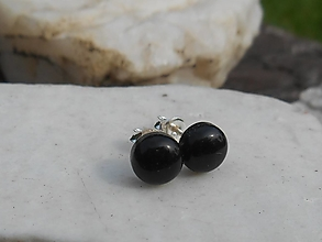 Náušnice - black turmalin-in silver--naušnice - 12348745_