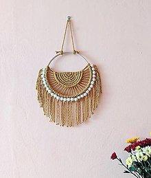 Dekorácie - Macramé kruhové zlaté - 12345179_