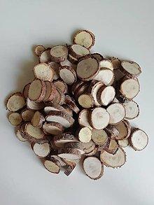 Dekorácie - Drevené plátky z tuje malé - mix veľkostí 1,5 - 3 cm, balenie 50 ks - 12344904_