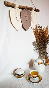Dekorácie - Makramé Lístky - Domov (Béžová) - 12345008_