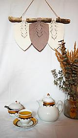 Dekorácie - Makramé Lístky - Domov (Béžová) - 12345010_