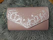 Kabelky - Ružová maľovaná kabelka s kvietkami - 12345002_