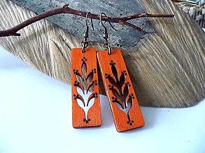 Náušnice - oranžové náušnice-lístočkové - 12347526_