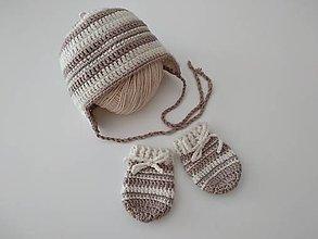 Detské čiapky - Béžovohnedá čiapočka + rukavičky grátis - 12344966_