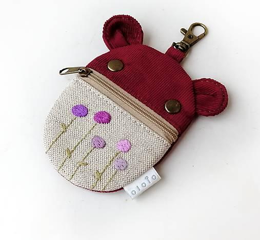 Kapsička na slúchadlá Zvieratko vyšívané Kvietky fialové