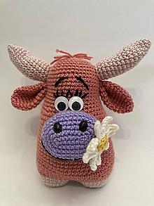 Hračky - háčkovaná kravka/ ružová/ - 12344626_