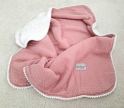 Textil - Teplejšia verzia mušelinovej deky ruzova 70x90cm s teplym barancekom - 12351513_