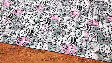 Textil - Bavlnená látka -Mačičky ružové- cena za 10 centimetrov - 12349065_