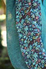 """Šály - Exkluzívny dámsky veľký nákrčník z ľanu a kvetinovej bavlny """"Aquarelle"""" - 12350276_"""
