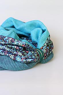 """Šály - Exkluzívny dámsky veľký nákrčník z ľanu a kvetinovej bavlny """"Aquarelle"""" - 12350235_"""