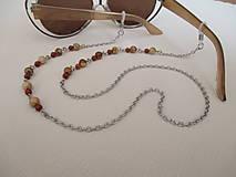 Iné šperky - Retiazka na okuliare - minerály jaspis červený a obrázkový - chirurgická oceľ - 12350117_