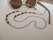 Iné šperky - Retiazka na okuliare - minerály jaspis červený a obrázkový - chirurgická oceľ - 12350118_