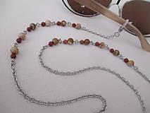 Iné šperky - Retiazka na okuliare - minerály jaspis červený a obrázkový - chirurgická oceľ - 12350123_