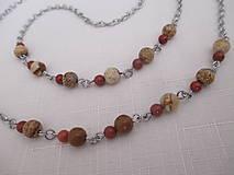 Iné šperky - Retiazka na okuliare - minerály jaspis červený a obrázkový - chirurgická oceľ - 12350131_