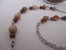 Iné šperky - Retiazka na okuliare - minerály jaspis červený a obrázkový - chirurgická oceľ - 12350132_