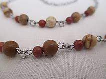 Iné šperky - Retiazka na okuliare - minerály jaspis červený a obrázkový - chirurgická oceľ - 12350136_
