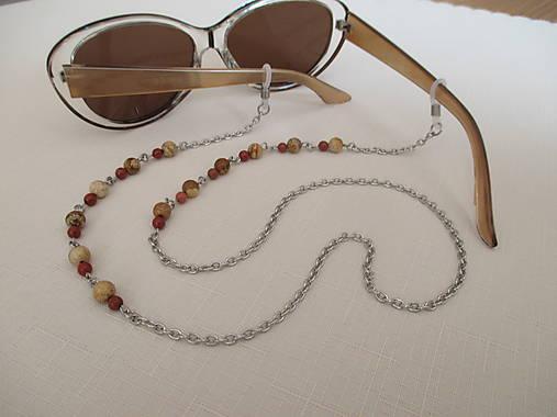 Retiazka na okuliare - minerály jaspis červený a obrázkový - chirurgická oceľ