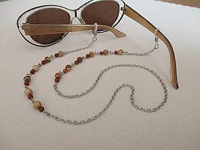 Iné šperky - Retiazka na okuliare - minerály jaspis červený a obrázkový - chirurgická oceľ - 12350114_