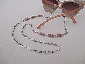 Iné šperky - Retiazka na okuliare - minerál rodochrozit matný - chir. oceľ - 12350162_