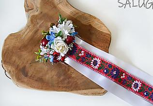 Ozdoby do vlasov - Kvetinový hrebienok do vlasov - folklórny - červený - 12350767_