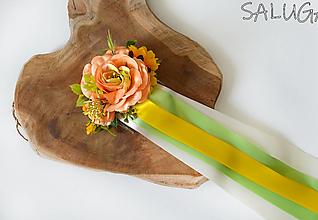 Ozdoby do vlasov - Kvetinový hrebienok do vlasov so stuhami - oranžový - 12350795_
