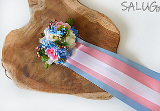Ozdoby do vlasov - Kvetinový hrebienok do vlasov so stuhami - svadobný - ružový - modrý - 12350867_