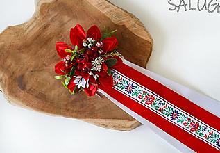 Ozdoby do vlasov - Kvetinový hrebienok do vlasov so stuhami - folk - ľudový - červený - 12350880_