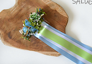 Ozdoby do vlasov - Kvetinový hrebienok do vlasov so stuhami - svadobný - modrý - 12350882_