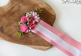 Ozdoby do vlasov - Kvetinový hrebienok do vlasov - so stuhami - ružový - 12350888_