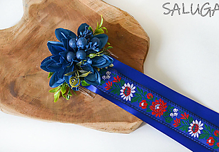 Ozdoby do vlasov - Kvetinový hrebienok do vlasov so stuhami - folk - modrý - 12350972_
