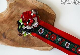 Ozdoby do vlasov - Kvetinový hrebienok do vlasov so stuhami - folklórny - červený - 12350979_