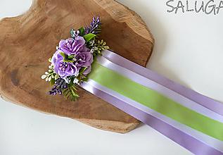 Ozdoby do vlasov - Kvetinový hrebienok do vlasov so stuhami - fialový - svadobný - 12350981_