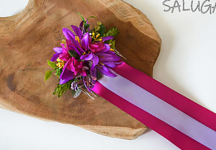 Ozdoby do vlasov - Kvetinový hrebienok do vlasov so stuhami - cyklamenový - fialový - 12350987_