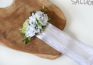 Ozdoby do vlasov - Kvetinový hrebienok do vlasov so stuhami - biely - svadobný - pre nevestu - 12351006_