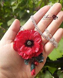 Náhrdelníky - Náhrdelník s kvetinovým príveskom Divý mak - 12350128_