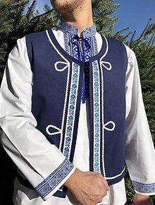 Oblečenie - Pánska folklórna vesta v modrom - 12352392_