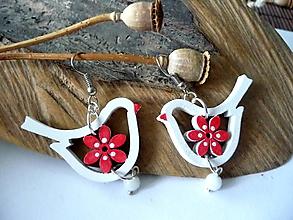 Náušnice - bielo-červené náušnice folk vtáčiky - 12350103_